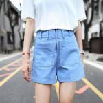 Blue Vacation Beach Front Zipper Pockets Boho Bohemian Shorts