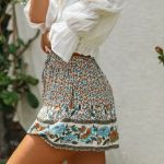Hippie Beach Wear High Waist Elastic Vintage Boho Bohemian Shorts