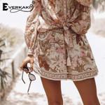 Floral Tiger Print Elastic Adjustable Tassel Boho Bohemian Shorts