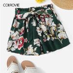 Self Tie Floral Print Elastic Waist Leg Belted Beach Boho Bohemian Shorts