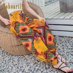Print Beach Elastic Waist Harem Ethnic Style Fashion Boho Bohemian Pants