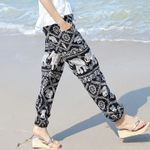 New printed cotton loose elephant printing elastic Boho Bohemian Pants