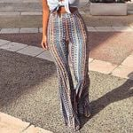 Striped Printed New Elastic Waist Vintage Boho Bohemian Pants