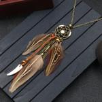 Long Chain Feather Pendant Dreamcatcher Necklace Boho Bohemian Accessories