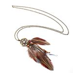 Ethnic Long Chain Feather Pendant Necklace ChokerBoho Bohemian Accessories