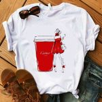 Fashion Luxury Make Up Collection Coffee Casual Women T-shirts
