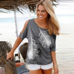 Off Shoulder Feather Print Casual Short Batwing Women T-shirts