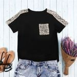 Sequined Pocket Tops Mujer Fashion Sleeve Women T-shirts