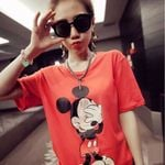 Tops and Tees Fashion Cartoon Print Short Sleeve O-Neck Women T-shirts