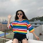 Rainbow Striped Tops Short Sleeve camiseta feminina Women T-shirts