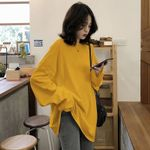 Solid Simple oversized long Sleeve Women T-shirts