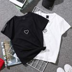 Couples Lovers Casual Heart Embroidery Print Women T-shirts