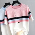 Plaid Striped Knitted Cotton Clothes Femme Camisetas Women T-shirts