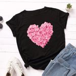 Heart Flower Print Casual Short Sleeve Embroidery Women T-shirts