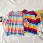 Casual loose rainbow striped O-neck short-sleeved Women T-shirts