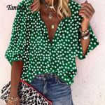 Fashion Floral Print V Neck Long Sleeve Women Blouses