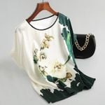 Silk Satin Batwing sleeve Vintage Print Floral Women Blouses