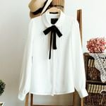 Fashion Elegant Bow Tie Chiffon Office Women Blouses