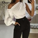Fashion Long Sleeve Solid Cold Shoulder Elegant Work Women Blouses