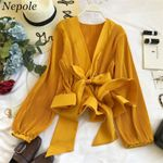Ruched Pleated Ruffles Blusa Sashes Vintage Women Blouses