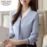 Solid Loose Vintage Long Sleeve Chiffon Women Blouses