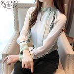 Casual V-neck Office Vintage Print Long Sleeve Chiffon Women Blouses