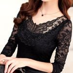 Hollow Out Lace Elegant Shirt Crochet Long Sleeve Women Blouses
