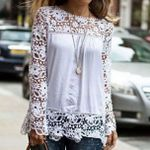 Lace Chiffon Flower Hollow-out Long Sleeve Solid Women Blouses