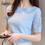 Fashion lace shirt short sleeve hollow Women Blouses