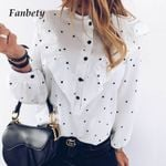 Dot Ruffle Shirt Elegant Casual O Neck Buttons Pullover Women Blouses