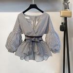 Lantern Sleeve Shirt Fashion Bow V-neck Striped Women Blouses
