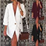 Tunic Top Blazer Sexy V Neck Sleeve Cotton Suit Women Blouses