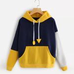 Hip Hop Patchwork Yellow Sweatshirt Long Sleeve Jumper Hoodies