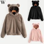 Sweatshirt Long Sleeve Fleece Warm Bear Shape Hoodies