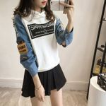 Long Sleeve Patchwork Casual Letter Print Sweatshirts