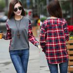 O-Neck Thin Tops Loose Blouses Tops Casual Shirts Stitching Women Sweatshirts