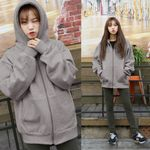 Ready Stock Oversize Zipper Oversized Pure Loose Crop Clothes Women Sweatshirts