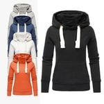 Pockets Slim Long sleeve Turtleneck Drawstring Sweatshirts