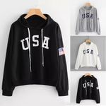 Casual Letter Flag Printed Long Sleeve Pullover Sweatshirt