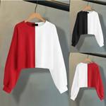 Splice SLong Sleeve streetwear Casual Short Pullover Sweatshirt