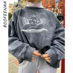 Angel Print Cute Graphic Thick Oversized Pullover Aesthetic Sweatshirt