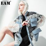 Stand Collar Long Sleeve Lace Split Joint Coat Denim Jackets