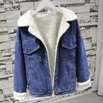 Fur Jeans Bomber Coat Lining & Front Button Flat Pockets Denim Jackets