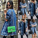 Basic Coat Holes Baggy Long Sleeve Loose Street Denim Jackets