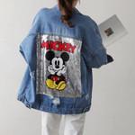Sequins cartoon long sleeve turn down collar Denim Jackets