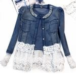 Lace Patchwork Pearl Slim Long-Sleeve Vintage Coat Denim Jackets