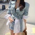 Patchwork Sashes Lace Up Outerwear High Street Fashionable Denim Jackets