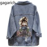 Printed Frayed Beading Loose Casual Jeans Coat Outwear Denim Jackets