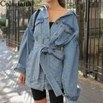 Lace Up Outerwear High Street Fashionable Denim Jackets