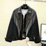Coat Rivet Tassel Chain Short Coats  Streetwear Coats Outerwear Denim Jackets